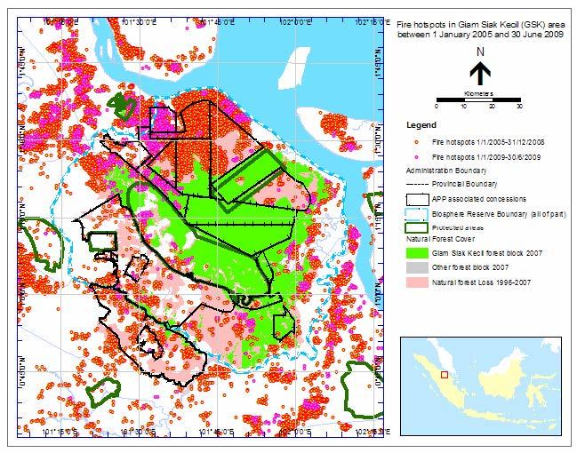 Peta 1.— Titik api kebakaran di kawasan Giam Siak Kecil (GSK) antara 1 Januari 2005 dan 30 Juni 2009. Dalam total 950 titik api terhitung di kawasan-kawasan yang dulunya merupakan hutan alam pada 1996 di GSK (daerah warna merah muda dan hijau).
